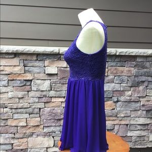 BCX Dresses - Royal blue sequins on lace bodice prom dress